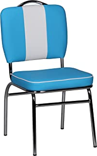 Wohnling Silla de Comedor, Piel sintética, Azul, 45 cm l x 47 cm b x 90 cm h