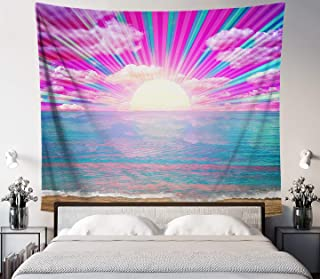 Lucid Eye Studios Retro Rays Tapestry- Blue Pink Ocean Sunset Wall Art- Colorful Beach Decor- Psychedelic Wall Hanging- Dorm Wall Hang- 84 x 72 in