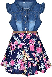 YJ.GWL Girls Dresses Denim Floral Swing Skirt with Belt Girls Fashion Clothes for 2-10 Years Blue