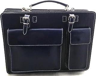 CTM Borsa Cartella a Spalla Blu Porta Documenti da Uomo, 38x29x11cm, Vera Pelle 100% Made in Italy