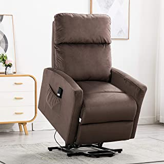 Bonzy Home Lift Recliner Chair Electric Power Recliner with Remote Control - Home Theater Seating - Bedroom & Living Room Elderly Recliner Sofa (Brown)