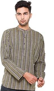 EASY 2 WEAR ® Men Checks Chinese Collar Kurta/Shirt Plus Size - Foldable Sleeves (S to 5XL) Comfort/Regular FIT