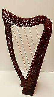 Celtic Irish Knee Harp 19 Strings with Levers Solid Wood Free Bag Strings Key