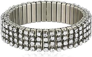 Steve Madden Women's Rhinestone Bar Design Gunmetal-Tone Stretch Bracelet, Expandable