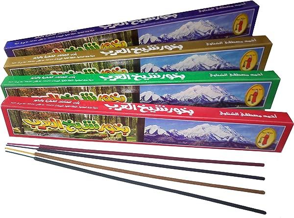 Shaikh El Arab 4 Different Arabic Bukhoor Incense Sticks Home Fragrance Long Burning Perfume