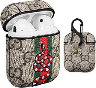 Gemfits Case Compatible with Airpods 1&2, Leather Luxury Classic Elegant Character Design Cover, Girls Ladies Men Women Stylish Fashion Chic Cool Designer Skin Airpod Kits, Cases for Air pods 3D Snake