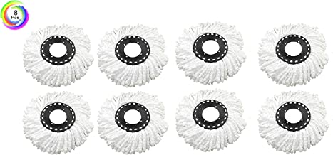 House of Quirk Microfiber 360 Degree Head Refill for Magic Mop, Standard, White -Set of 8 Piece