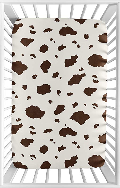 Sweet JoJo Designs Brown Cow Print Baby Boy Fitted Mini Portable Crib Sheet For Western Wild West Collection For Mini Crib Or Pack And Play ONLY