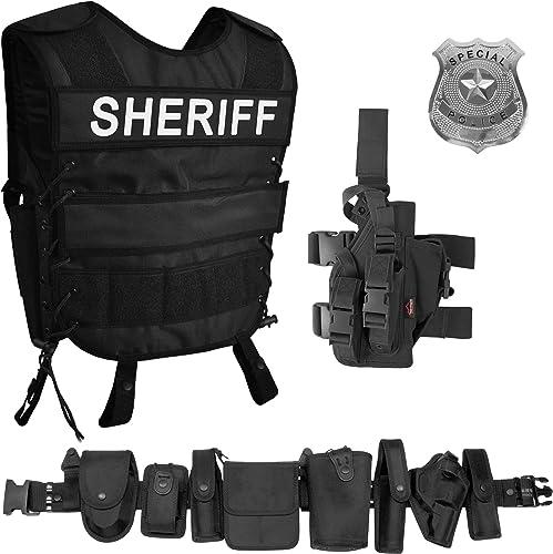 normani Sheriff Kostüm Besteehend aus taktischer Weste mit Sheriff Patch, Einsatz-Gürtel, US Special Police Abzeichen und Pistolenholster