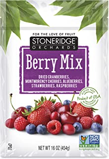 Stoneridge Orchards Whole Dried Berry Mix 16 oz (6 pack) - Cranberries, Montmorency Cherries, Blueberries, Strawberries, R...