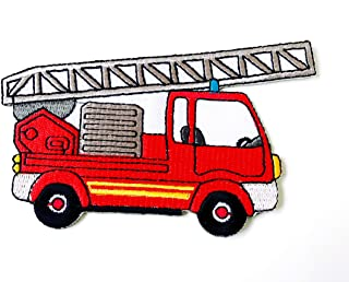 Tyga_Thai Brand Red Fire Engine Truck Cute Cartoon Kids Logo DIY Applique Embroidered Sew on Iron on Patch for Backpacks Jeans Jackets Clothing etc.(Iron-FIRE-Engine-Truck-RD)