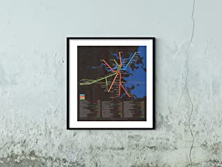 Map|Greater Boston Transit s, Rapid Transit Lines ''Black '' 1974 Transit/RR|Historic Antique Vintage Reprint|Size: 22x24|Ready to Frame