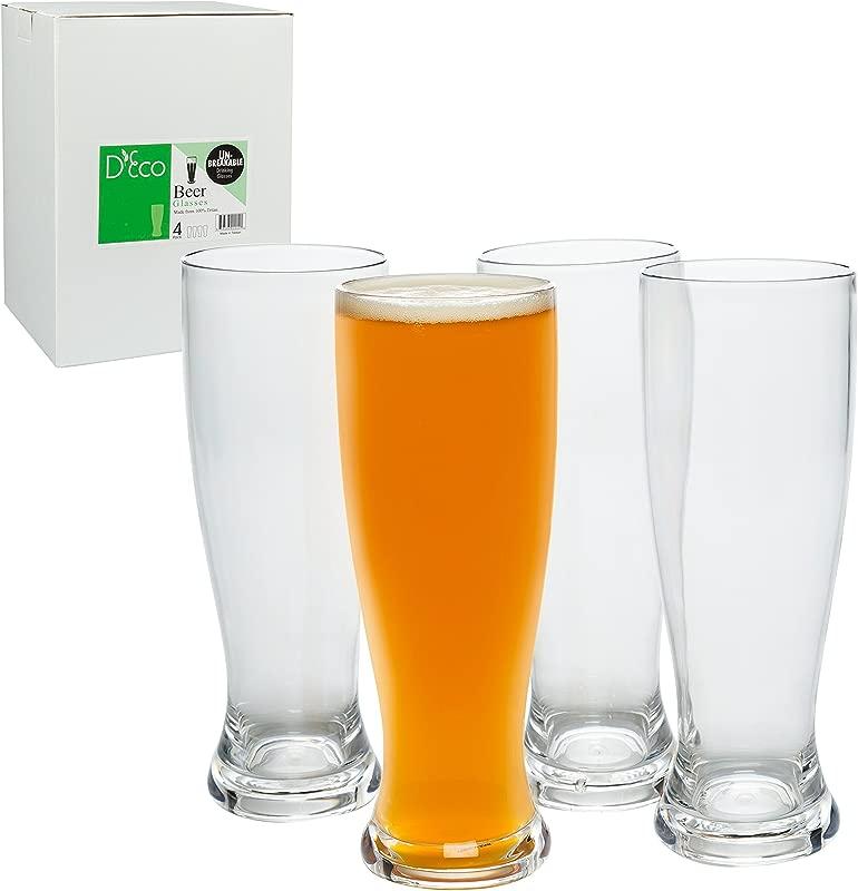 Unbreakable Beer Glasses 24oz 100 Tritan Set Of 4 Shatterproof Reusable Dishwasher Safe