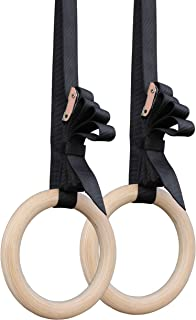 """Titan Wooden Gymnastics Rings with Cam Buckle Straps,  Home Gym Equipment,  8"""""""