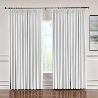 Macochico Extra Wide Soft Faux Dupioni Silk Curtain with Blackout Lining Pinch Pleat Drapery Panels for Bedroom Meeting Room Living Room Office, Egg White 120 Wx 96 L Inch (1 Panel)