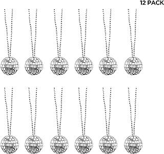 Mini Disco Ball Necklaces - 70s Dance Party Favor Decorations - 12 Pack