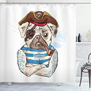 UKSILYHEART Shower Curtain 72x80 Inches Pug Bath Curtain, Pirate Pug Conqueror of The Seas Pipe Skulls and Bones Hat Striped Sleeveless T-Shirt, Fabric Bathroom Decor Set with Hooks, Brown Blue