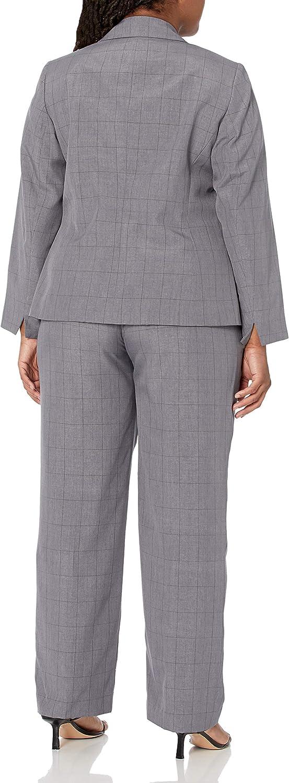 Le Suit Women's Plus Size Windowpane Jacket and Pant Suit