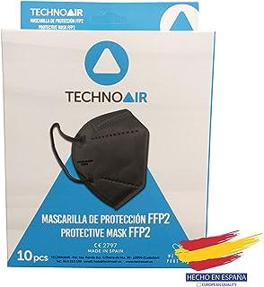 Mascarillas FFP2 de 5 capas en cajas de 10 uds color negro, Homologadas tipo III, fabricadas en España CE 2797 - Technoair