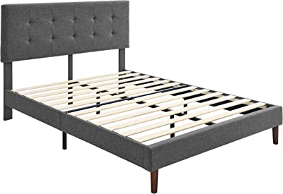 Amazon Basics Faux-Linen Upholstered Square Stitched Platform Bed - Mattress Foundation - Easy Assembly - Strong Wood Slat Support-Dark Grey, Queen