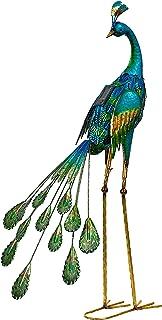 ديكورات تماثيل حديقة طاووس معدنية مقاس 88.9 سم من مجموعة تيريزا كوليكشنز، مصابيح شمسية طاووس منحوتات فنية للحديقة تقف مع أ...