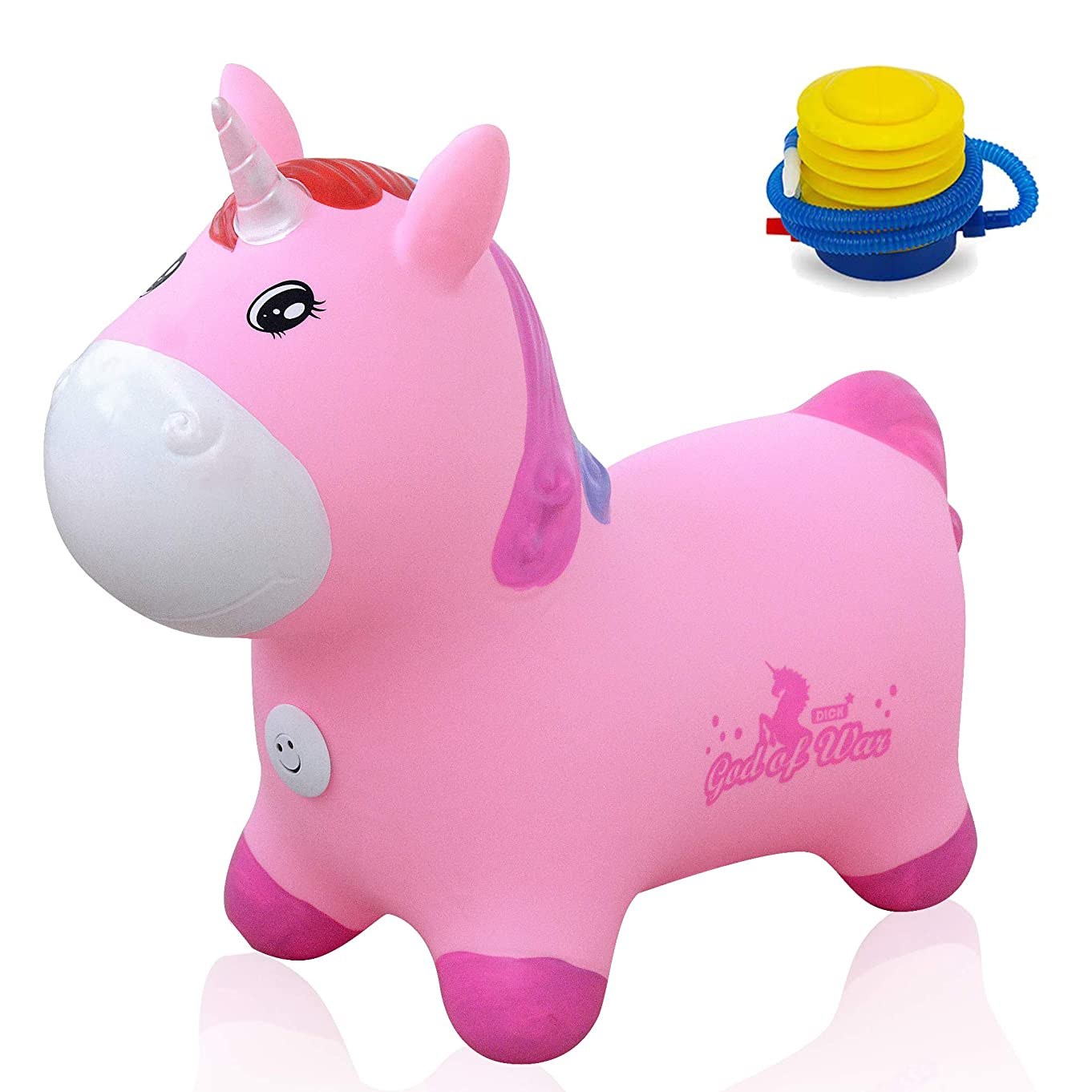 Bouncy Unicorn Hopper Ball Unicorn Hopper Inflatable Animal Ride-on Toy for Children Eco-Friendly +Free Foot Pump(Pink)