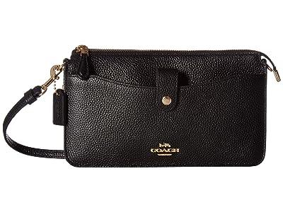 COACH Pop Up Messenger in Polished Pebble Leather (LI/Black) Messenger Bags