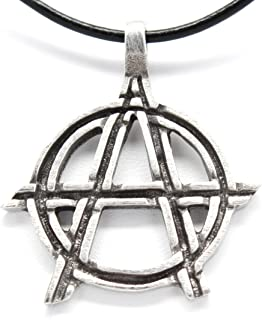Pewter Anarchy Symbol Biker Gothic Pendant on Leather Necklace