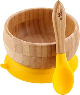 "Avanchy - Baby Feeding Bowl and Spoon Set, Bamboo Bowl with Spill Proof, Stay Put Suction Ring, 5"" × 3"" Bowl Size - Yellow"