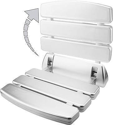 PrimeMatik siège de Douche Rabattable. Chaise Pliante pour Personnes âgées en Plastique et Aluminium Argent 350x 348mm (kd075), Blanc