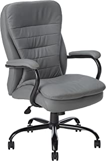 Boss Office Products Heavy Duty Double Plush LeatherPlus Chair with 350lbs Weight Capacity in Grey