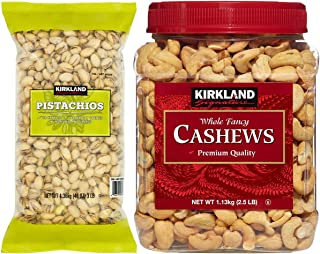Kirkland Signature In Shell Pistachios and Cashews Bundle - Includes Kirkland Signature In Shell Pistachios (3.0 LB) and Whole Fancy Cashews (2.5 LB)