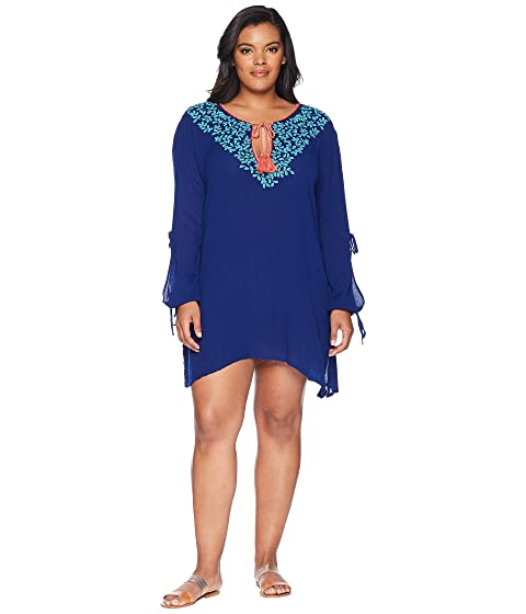 e5ea3f9107963 La Blanca Plus Size Leaf It To Me Cool Shoulder Tunic Cover-Up at 6pm