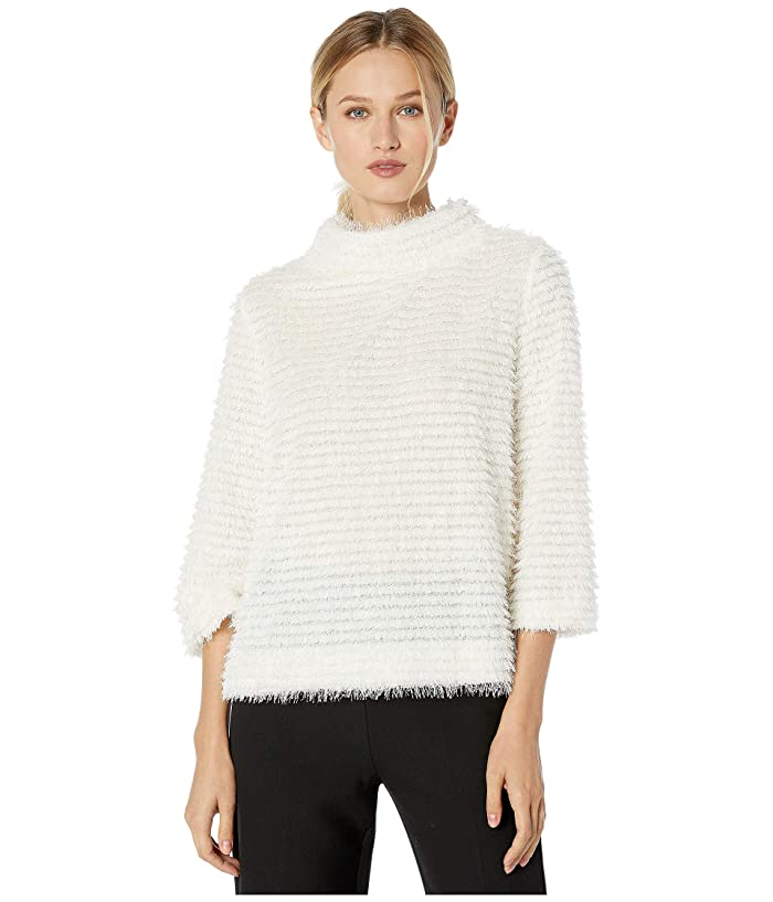 Vince Camuto  Elbow Sleeve Eyelash Stripe Top (Pearl Ivory) Womens Sweater