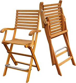 Interbuild Casino Bar Chair | Golden Teak Finish | Foldable | 2-Piece Set …