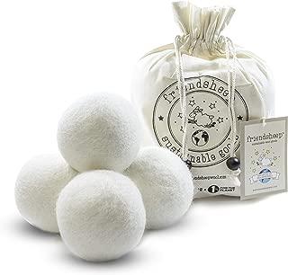 Friendsheep Organic Eco Wool Dryer Balls - 4 White - Handmade, Fair Trade, No Lint - Creamy White Pack of 4