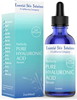 Hyaluronic Acid Serum – 100% Pure Hydration | Vegan & Gluten Free Formula | Hydrating Daily Face Moisturizer for Firm Glowing Skin - Best Anti-Aging Facial Treatment | Plumps and Smooths – 2 Oz