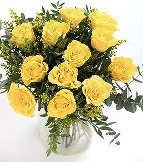 Ramo 12 Rosas Amarillas, Flores Naturales a Domicilio Blossom® | Ramo de Rosas Naturales a Domicilio Frescas y Recién Cort...