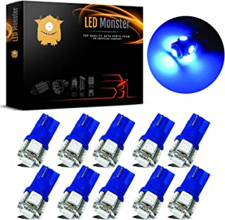 LED Monster 10-Pack Blue Interior Dome Map LED Bulbs 5 SMD Car License Plate Lights Lamp 12V 168 194 T10 5-SMD