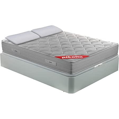 PIKOLIN Pack Colchón viscoelástico de muelles 135x190+ canapé con Base abatible Blanco y Dos Almohadas de Fibra, Incluye Subida a Domicilio, Montaje y ...