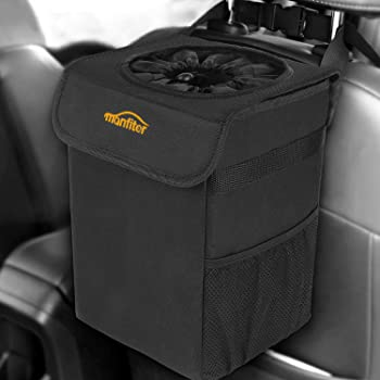 AUTMOR Auto Car Garbage Can with Lid and Storage Pockets