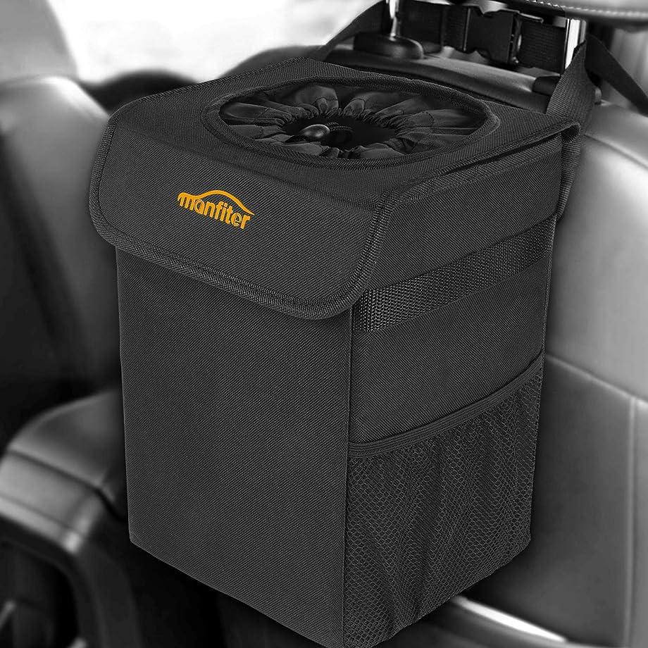 AUTMOR Car Trash Can with Lid and Storage Pockets, Auto Car Garbage Can, 100% Leak-Proof Car Organizer, Multipurpose Waterproof Car Trash Bag, Hanging Car Trash Bin