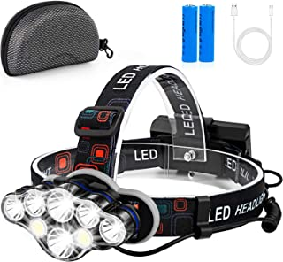 Rechargeable Headlamp, Fastras 13000 Lumen 8 LED Headlamp Flashlight with White Red Lights,8 Modes USB Rechargeable Waterproof Head Lamp for Outdoor Camping Cycling Running Fishing