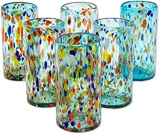 NOVICA 215059 Multicolor Eco-Friendly Hand Glass Tumblers, 6