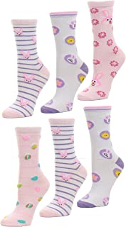 Easter Holiday Socks with Classic Easter Colors and Designs, Size 9-11, 6 Pairs