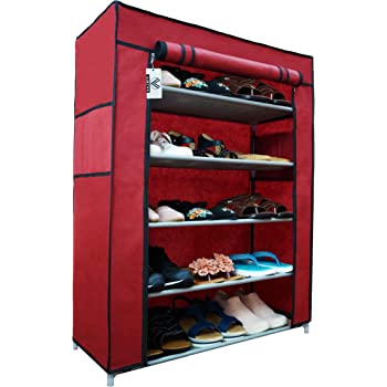 Virtue Shoe Rack Stand Foldable with Cover 5 Shelves for Home, Metal Frame Plastic Connectors Multipurpose Covered Portable Organiser (Maroon & Grey)