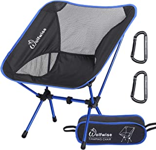 WolfWise Ultralight Portable Camping Chair, Compact Folding Backpacking Lounge Chairs for Outdoor Picnic Beach Hiking Fishing with Carry Bag and Two Carabiner