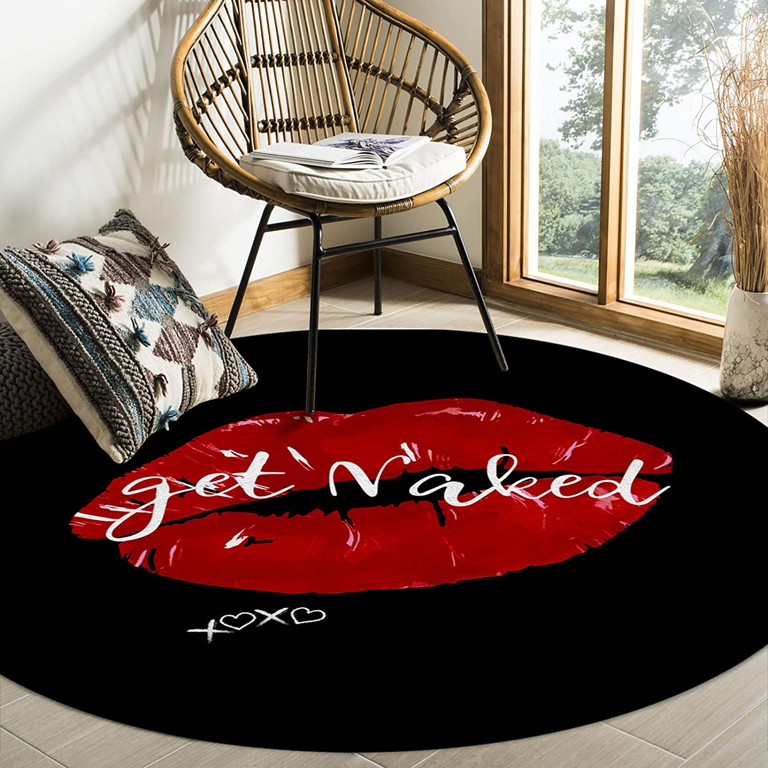 Singingin Round Area Rugs for Kids Black Lip Get Naked Red Mail order cheap Room Max 67% OFF