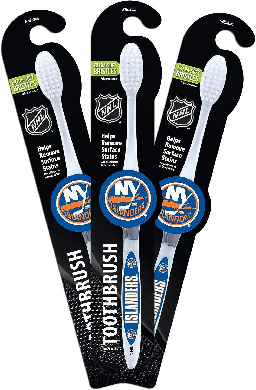 Worthy Promo NHL New York Islanders Toothbrush (Pack 3), Clear