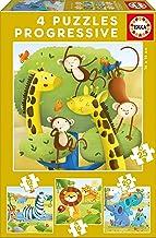 Educa - Puzzles Progresivos, puzzle infantil Animales Salvajes de 12,16,20 y 25 piezas, a partir de 3 años (17147)